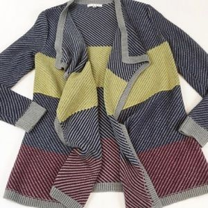 CAbi #467 Chunky Striped Open Blanket Cardigan